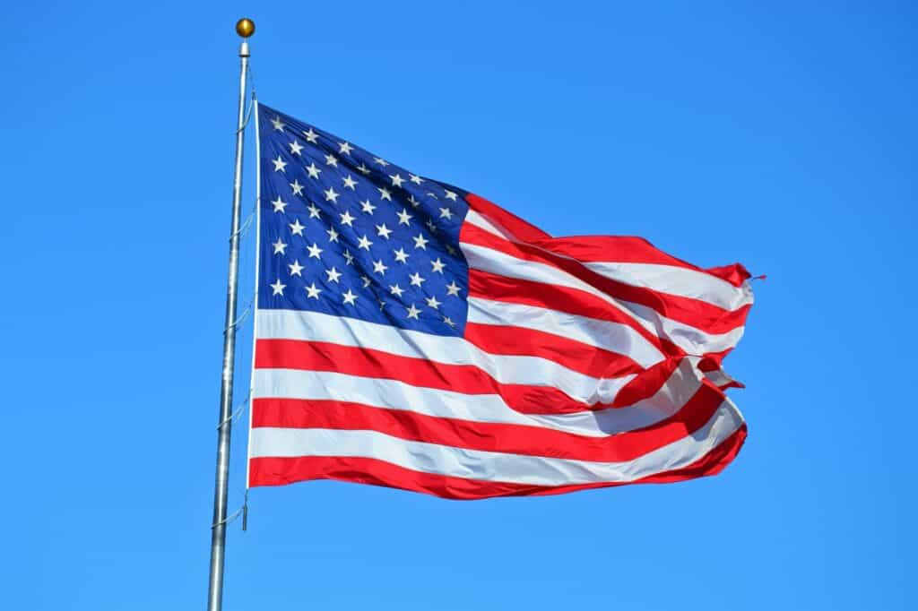 Person Showing USA FLag